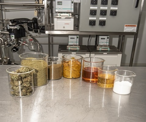 extraction products in top of table
